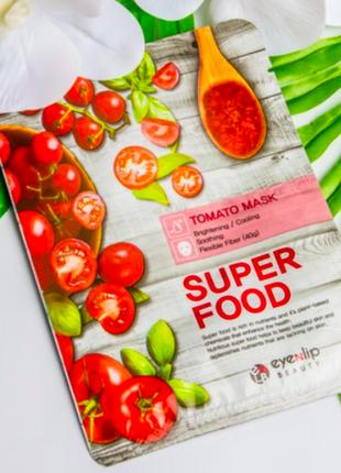 Тканевая маска с єкстрактом томата eyenlip super food tomato mask
