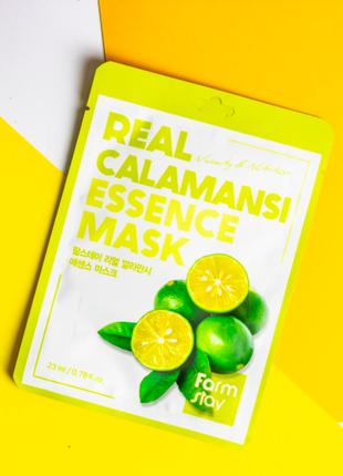 Тканевая маска с экстрактом каламанси farmstay real calamansi essence mask, 23мл