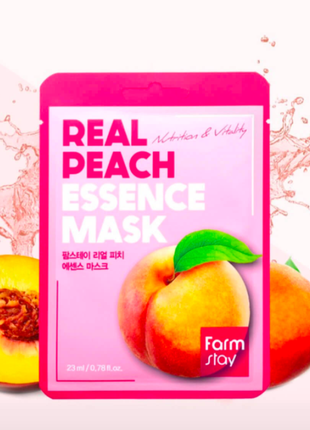 Тканевая маска с экстрактом персика farmstay peach real essence mask, 23м