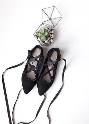 Балетки туфли на атласных завязках