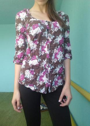 Блузка с цветочным принтом/ красивая яркая блуза в цветы h&m