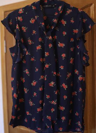 Блузка zara цветочный принт