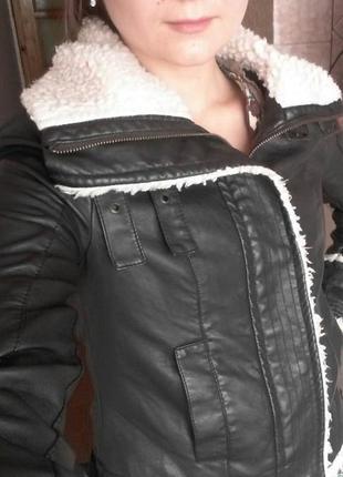 Суперская куртка из экокожи miss selfridge 32/4/xxs