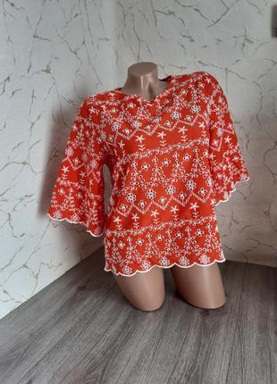 Блуза , блузка красная с прошвой