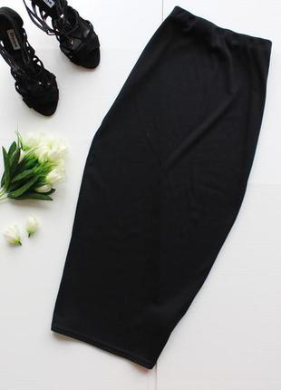 Актуальная юбка миди на резинке в рубчик с завышенной талией