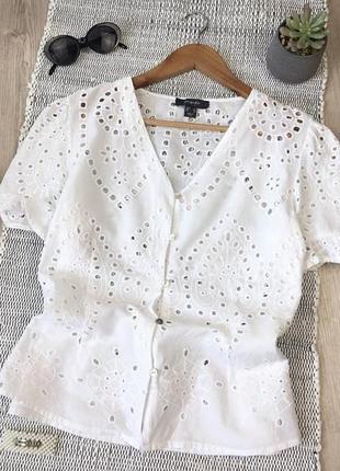 Белая хлопковая блуза в прошву от primark
