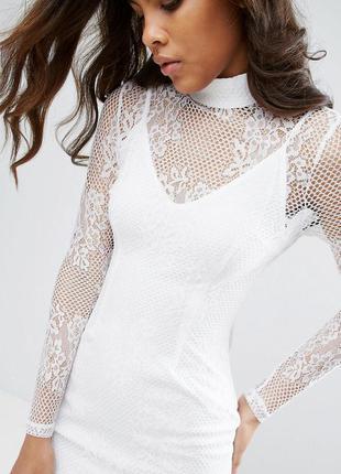 Missguided роскошное белое ажурное платье