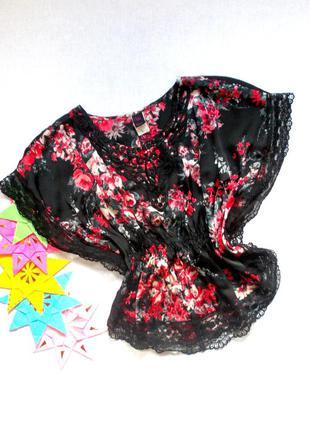 Total sale скидки распродажа!!! красивая легкая блуза с розами черная с гипюром