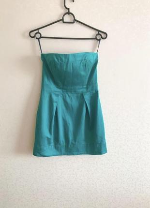 Зелёное платье, платье без рукава,бирюза,короткое платье,платье на молнии,sale
