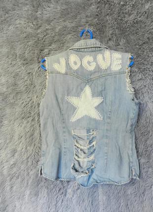 ✅ джинсовая жилетка с жемчугом