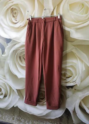 Стильные штаны с высокой посадкой боковыми карманами