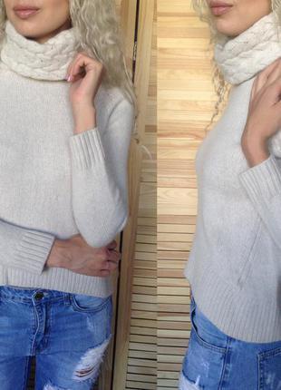 Шикарный светло-серый свитер с объемным горлом1