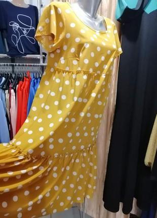 Top платье разлетайка с воланами рюшами в горох4 фото