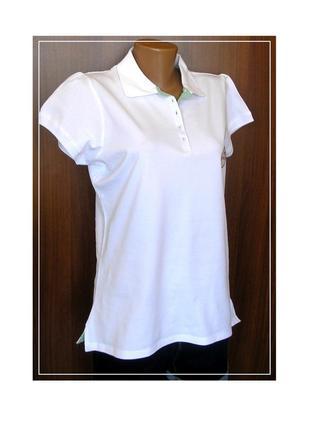 Белоснежная хлопковая футболка-поло , с биркой., доставка бесплатно.