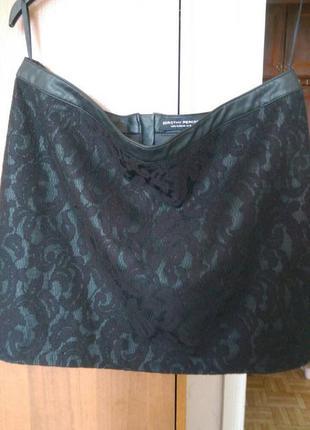 Потрясающая кожаная чёрная юбка dorothy perkins 44-46 размера