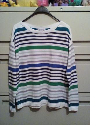 Хлопковый свитер в полоску р-р 14-16