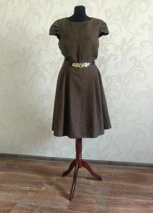Распродажа. шикарное офисное платье цвета табака, размер 14 (50-52)