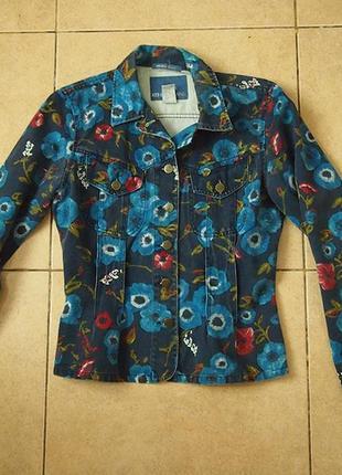 Пиджак жакет kenzo jeans m-l оригинал принт цветы