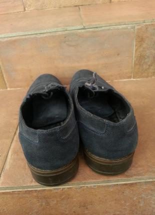 Мужские темно синие туфли из натуральной замшы4 фото