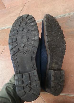 Мужские темно синие туфли из натуральной замшы5 фото