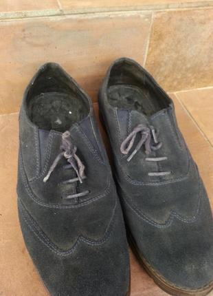 Мужские темно синие туфли из натуральной замшы2 фото
