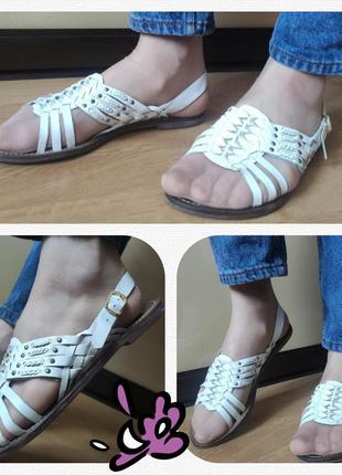 Босоножки сабо сандалии с белой натуральная кожа плоский ход