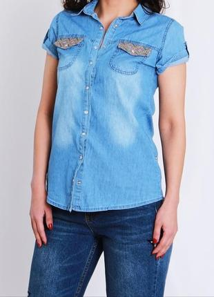 Джинсовая рубашка с вышивкой на карманах (бесплатная доставка)