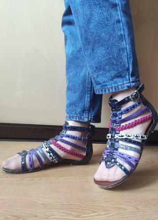 Босоножки  сабо сандалии  разноцветные гладиаторы плоский ход 🔥