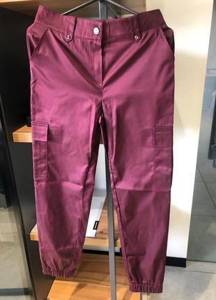 Брюки штаны высокая посадка талия коттон