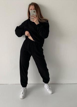 Трендовый оверсайз костюм из хлопка с свитшотом из хлопка, весенний женский костюм 20212 фото