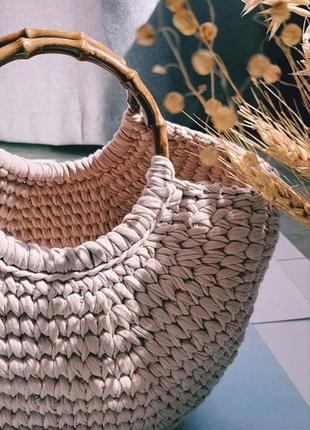 Сумка шопер, пляжная сумка из трикотажной пряжи
