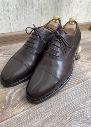 Мужские кожаные коричневые туфли оксфорды quarvif 8 42