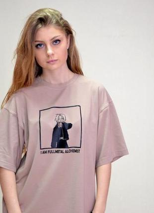 Футболка ,оверсайз унисекс футболка, taboo kyiv fullmetall alchemist capuccino