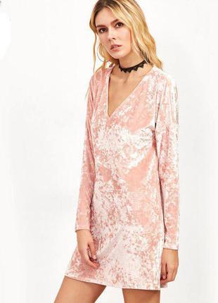 Бархатное платье пудрового цвета! тренд!!!