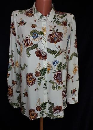 Бежевая блуза-рубашка в цветочный принт springfield(размер 40)
