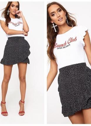 Юбка в горошек prettylilttlething актуальная юбка на лето в горошек в размере s