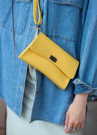 Желтая сумка-клатч на пояс кросс-боди через плечо нагрудная сумочка