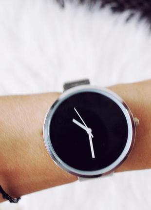 Новые часы,супер красивые,серебро с черным фото вживую!