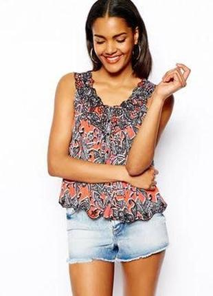 Блуза топ с вышивкой с ацтекским принтом из жатой вискозы без рукавов