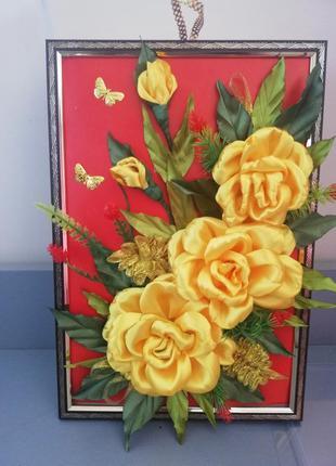 Панно из атласных лент «розы» ручная работа
