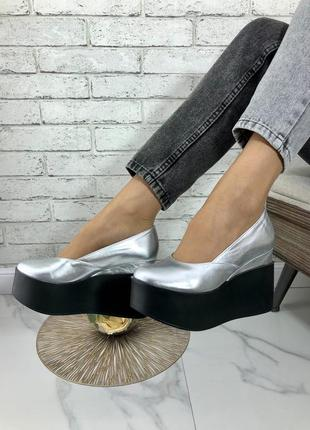 Туфли на танкетке на подошве натуральная кожа замш