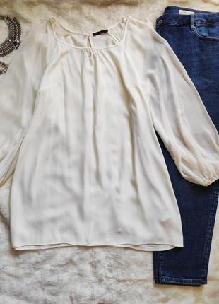 Белое натуральное короткое пышное платье трапеция обьемный длинный рукав туника