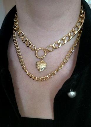Крупные цепи ожерелье колье чокер кулон сердце серебристое золотистое