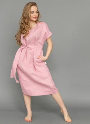 Розовое платье летнее льняное