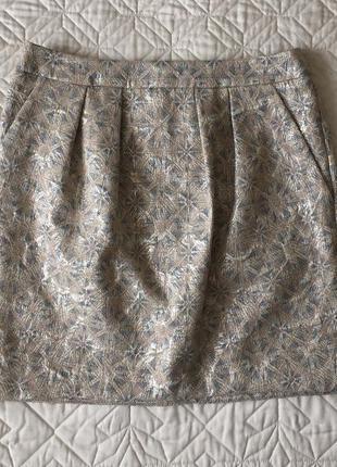 Светлая жаккардовая юбка с отливом promod с карманами, размер 34 xs