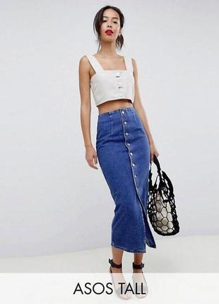 Распродажа! джинсовая юбка asos миди/макси на пуговицах