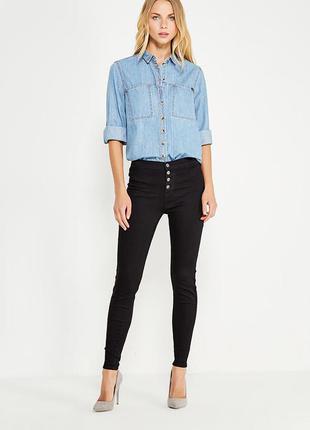 Черные джинсы скинни высокой посадки new look