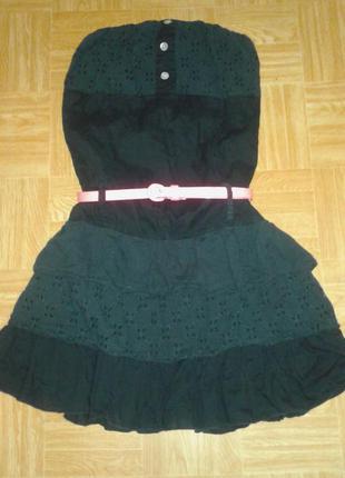 """Коттоновое черное платьеце со вставками """"шитье"""",h&m, р. s."""