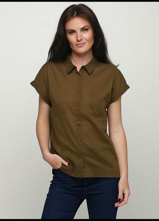Рубашка цвета хаки без рукава1 фото