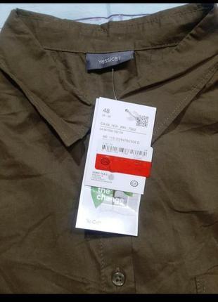 Рубашка цвета хаки без рукава4 фото